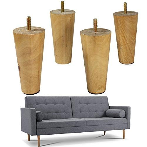 Wood Sofa Legs Set Of 4 Natural Color