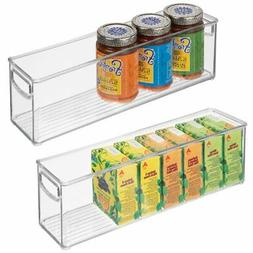 mDesign Plastic Stackable Kitchen Pantry Cabinet, Refrigerat