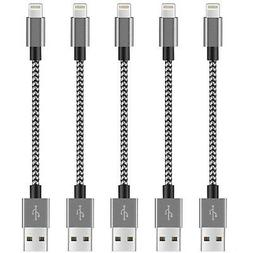 AEZO Replacement for Short iPhone Charger Cable 5Pack Lightn