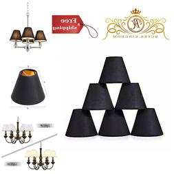 Set of 6 Black Natural Linen Chandelier Lamp Shades E12 Cand