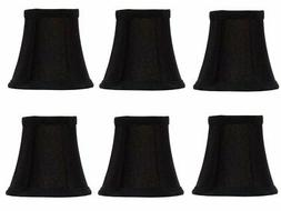 Set of 6 Chandelier Lamp Shades 5 Inch Black Silk with Gold
