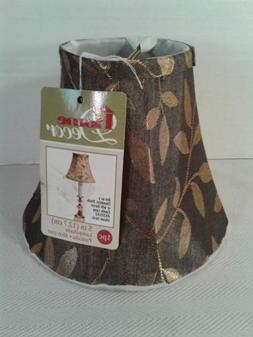 Shimmery brown & gold Fabric 5 inch Small Clip-on Lamp Shade