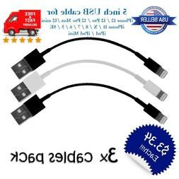 """Short 5"""" inch USB Cable Charger for iPhone X/12/11/8/7/6/5/S"""