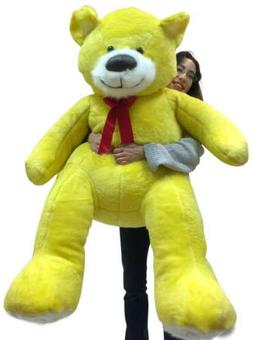5 Foot Soft Yellow Teddy Bear Big Plush 60 Inch Huge Stuffed
