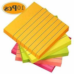 Sticky Notes 3x3 Inches, 5 Bright Color Lined Self-Stick Not