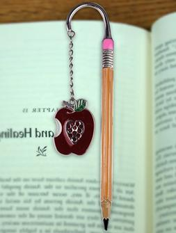Teacher Bookmark - Apple Bookmark with Jewels - Pencil Bookm