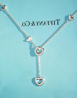 Tiffany & Co Sterling Silver Heart Link Lariat Necklace 18.5